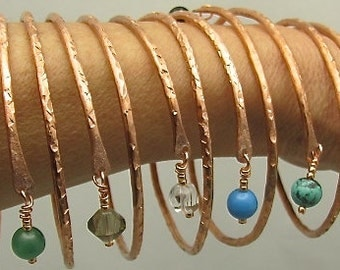 Copper Bangles Bracelet, Adjustable Copper Bangle. Pure Copper Bracelet. Stackable Bangles. Beaded Bangles. You get One(1)