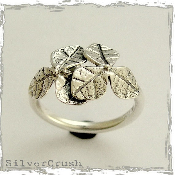 Sterling silver ring, oxidized ring, thin ring, leaf ring, leaves ring, woodland ring, simple ring, botanical ring - Curiosity R1690