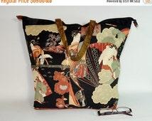 OnSALE Asian Shoulder Bag with Zipper  - Shoulder Tote - Large Bag - Purse - Market Bag - Vagabond Bag (852)