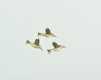 Bird charms set of 3, brass stamped, solid brass 17mm, 5000AG