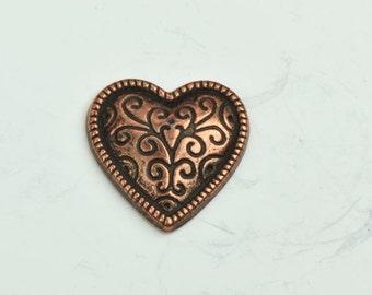 Heart Pendant, 1 sided 20mm width,  copper finish , 3/each 09579AC