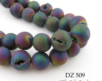 10mm Rainbow Druzy Agate Geode Beads Matte Blue Purple Blue (DZ 509) 18 pcs BlueEchoBeads