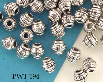 5mm Small Pewter Beads Mini Barrel Spacer Antique Silver (PWT 194) 50 pcs BlueEchoBeads