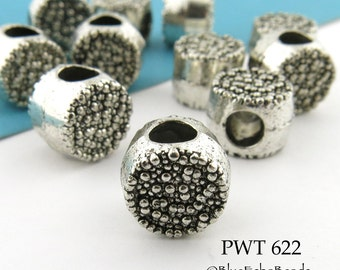 Large Hole Pewter Textured Drum Bead Antiqued Silver (PWT 622)  8 pcs BlueEchoBeads