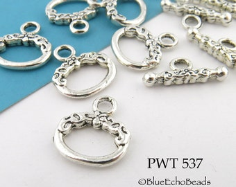 16mm Decorative Oval Toggle Clasp Pewter Antiqued Silver (PWT 537) 6 sets BlueEchoBeads