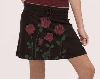 Black Mini Skirt, Roses Skirt, Red Roses Print, Graphic Skirt, Festival skirt