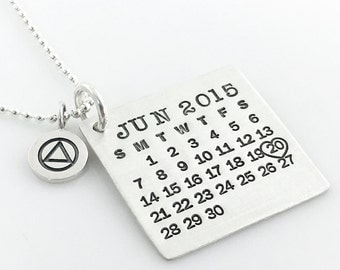 Calendar Necklace - Sterling Silver Mark Your Calendar necklace with AA (Alcoholics Anonymous) Symbol Charm