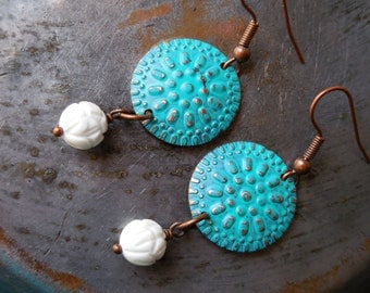 White lotus flowers, long dangle earrings, blue green copper disc and carved shell bead, cerulean blue, gypsy boho bohemian chic