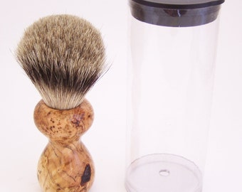 Black Cherry Burl Wood 16mm Silvertip Badger Travel Brush  (Handmade in USA) C2 -  Executive Gift - 5th Anniversary - Wood Shaving Brush