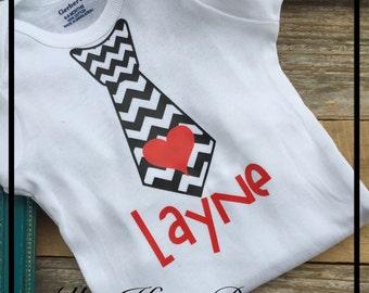 Boys Valentine Chevron Heart Neck Tie onesie t shirt