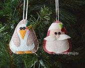 Felt Santa and Penguin Ornament set
