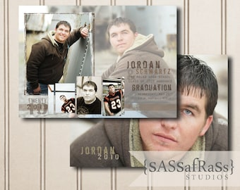 The Jordan--5x7 ADOBE PHOTOSHOP Graduation Announcement Template for Photographers, DIY, Graduation Party Invite, Open House