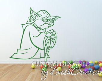 Yoda Star Wars Wall Decal StarWars Yoda with Cane Jedi 068