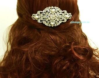 Art Deco Wedding Headpiece, Silver Bridal Hair Jewelry, Gatsby Wedding Hair Comb, Crystal Bridal Hair Comb, Pearl Bridal Headpiece, RANIA