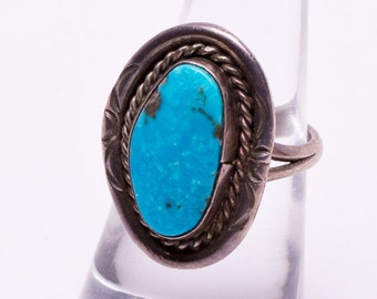 Navajo Signed - Natural Kingman Turquoise Ring - 70s Sterling -  sz 6