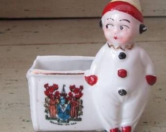 Little Clown - Vintage Pierrot Figurine Match Holder - Holiday Souvenir Southend On Sea England 1930s