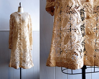1960s Samuel Winston by Roxane // Golden Cream Embroidery Lace Dress