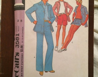 Vintage 1970's McCalls Sewing Pattern 3581 Men's Leisure Suit, Jacket, shorts and swim trunks Chest 34 Waist 28