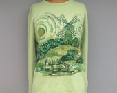 Vintage Silkscreened Novelty Sweater Windmill Pullover Sage Green Unisex S/M