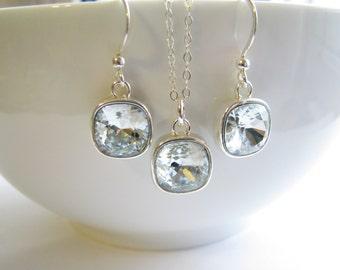 SALE, Swarovski Light Azore Blue Crystal Pendant Necklace & Earrings, Fancy Crystal Stones, Sterling Silver Set, Ready To Ship