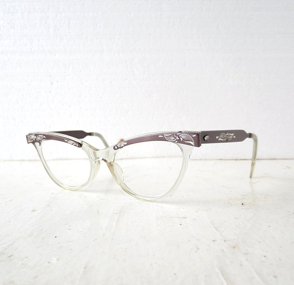 Glasses Frame Discoloration : Cat Eye Glasses 50s Glasses Vintage Eyeglasses