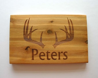 Antlers Family Name Personalized Cedar Sign Custom Engraved Wood Sign Deer Hunter Wedding Gift