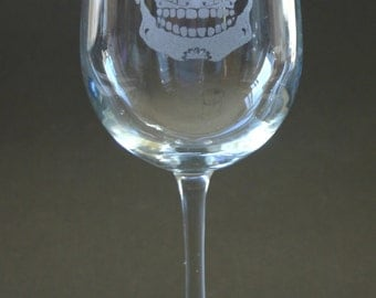 Sugar Skull Etched Wine Glasses Engraved Day of the Dead Wine Glasses