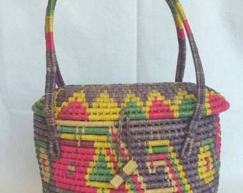 Mexican Folk Art Basket Purse