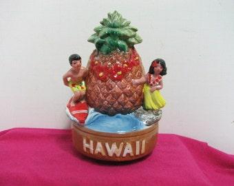 Vintage Hawaii Music Box Statue Surfer Hula Dancer Pineapple Hawaiian Music Box Surfing Aloha Oe