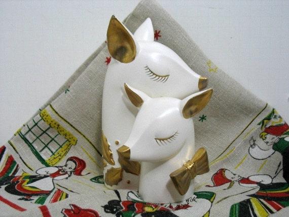 Holt Howard Christmas Reindeer Vase, Vintage Holiday Deer Planter Reindeer Family Holly Mid Century