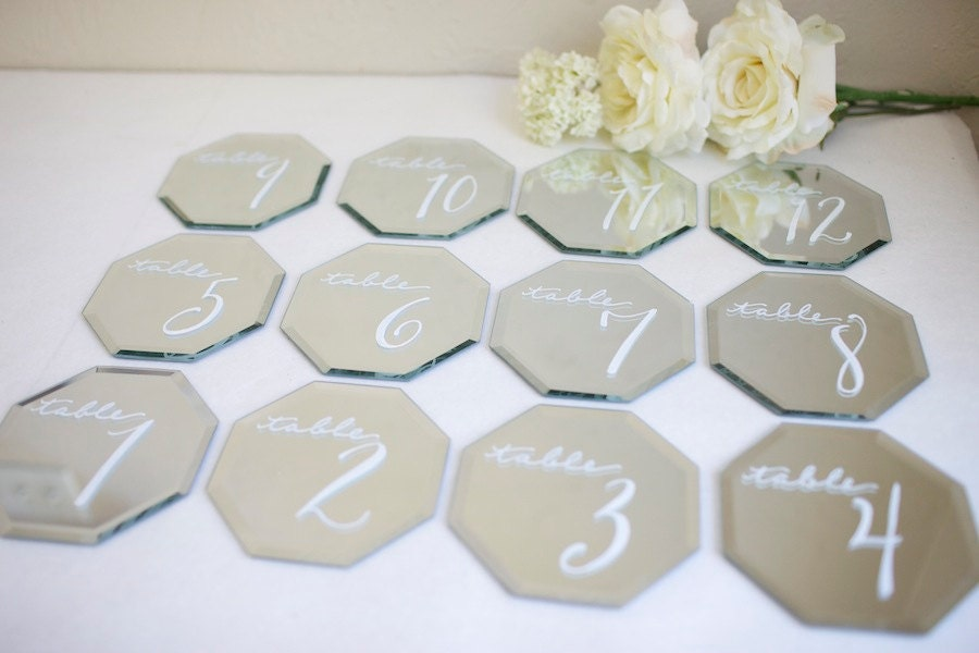 "Set of ten 5"" octagonal custom designed beveled edge mirrors. Table names or numbers. Dessert signs. Menu item labels. Cocktails."
