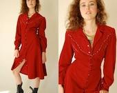 SALE SALE Corduroy Prairie Dress Vintage 70s Burgundy Corduroy Western Boho Shirt Dress (s)