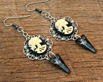 Victorian Lady Skull Earrings with Swarovski Crystal Spikes black ivory antique silver Gasparilla pirate chic rocker glam edgy