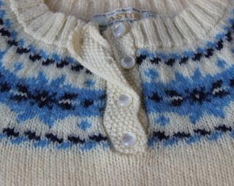 Vintage Aston Shetland White Decorative Nordic Yoke Sweater Button Neck Pullover Blue