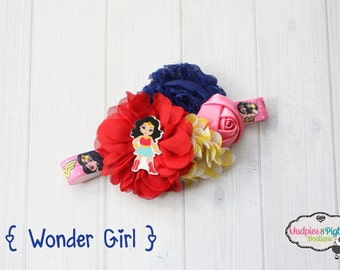 Baby headband or planner band { Wonder Girl } wonder woman, pink yellow, red blue, superhero, first birthday cake smash, planner accessories
