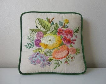 VINTAGE boho chic FLORAL needlepoint PILLOW cushion
