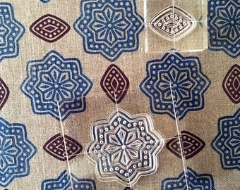 Block Print Fabric Stamp Set - Textile Printing - Clear Stamps set of six - Temple Garden