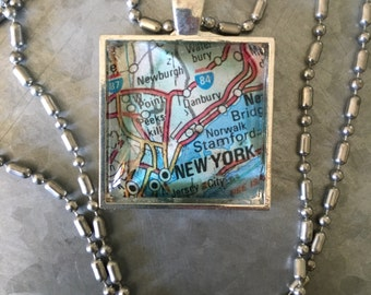Vintage Chain Pendant with Vintage Map Silver *New York