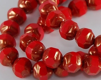 CLOSING SALE 50% OFF Picasso Czech Glass Bead Baroque Round 8mm Coral Red Copper  - 25 pieces     (St389)