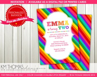 Rainbow Birthday Invitation : Personalized Girl Birthday Invitation - Rainbow Background - Printable - Item BD111
