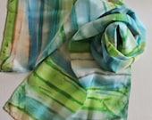 Hand Painted Silk Scarf - Handpainted Scarves Lime Green Apple Kelly Sky Blue Slate Royal Sapphire Tan Grey Gray Ocean Sea Beach