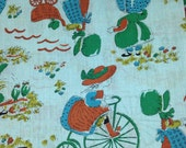 Sale item, One yard plus three remnents of Holly Hobby fabric, vintage fabric,