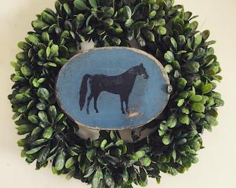 Paper Mache Vintage Blue Horse Box