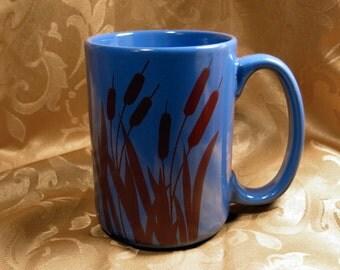Cat Tail Mug Cobalt Blue Sepia Decal Transfer