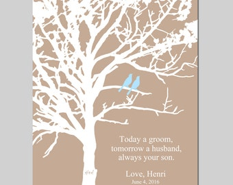 Wedding Gift Parents - Parents Wedding Gift - Grooms Gift - Always Your Son Quote - Family Tree - Carved Initials - CHOOSE YOUR COLORS