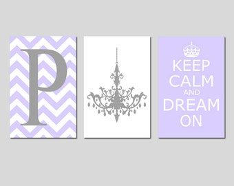 GIRL Wall Art Chevron Initial, Chandelier, Keep Calm Dream On Dance Style Carry Trio - Set of Three 13x19 Prints - Choose Your Colors