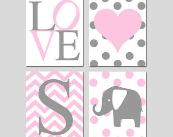 Baby Girl Nursery Wall Art Pink and Gray - Set of 4 Prints - Chevron Initial, Love, Polka Dot Elephant, Heart - CHOOSE YOUR COLORS