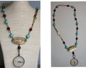 Repurposed COMPASS Beaded Necklace- Key Hole Escutcheon- Hand Wired- with Vintage Embellishments- Statement Jewelry