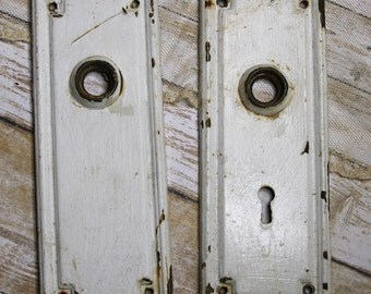 White Chippy Paint- ESCUTCHEON Plates-Old Door Hardware- Salvaged Door Plates