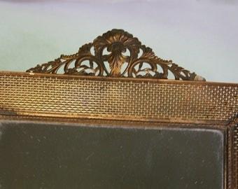 Vintage Brass MIRRORED TRAY- Hollywood Regency- Ornate Mirror Tray with handles- Vanity Storage Gold tone Display